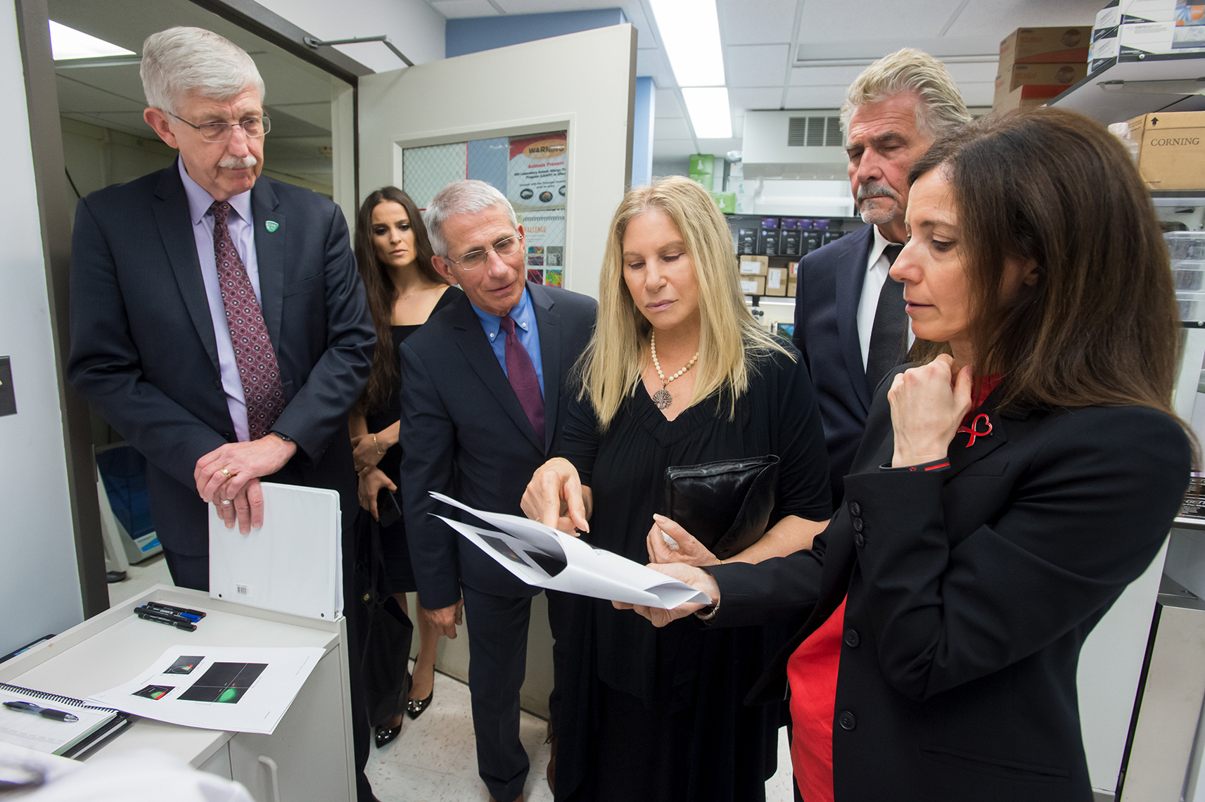 Barbra Streisand, James Brolin, Dr. Anthony Fauci, Dr. Francis Collins